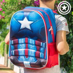 Capitão América | Mochila Escolar 3D | Produto Licenciado
