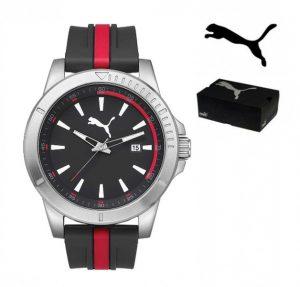 Puma® Bracelete Silicone Preta e Vermelha | 5ATM