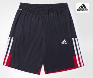 Adidas® Calções Júnior Cinza | Riscas Brancas | Tecnologia Climalite