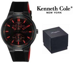 Relógio Kenneth Cole® New York Dress Sport Preto | Vermelho  | 3ATM