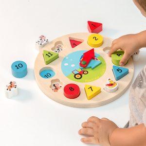 Relógio Puzzle Educacional de Madeira | 13 Peças