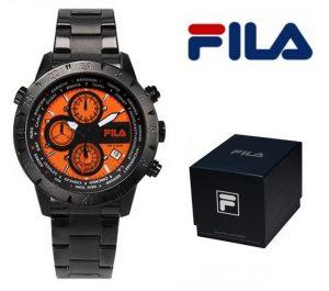 Relógio Fila® Casual Com Cronógrafo | Preto | Laranja | 10ATM