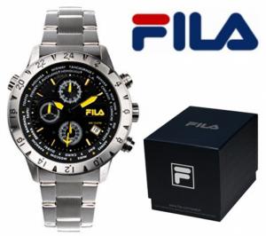 Relógio Fila® Casual Com Cronógrafo Preto | Amarelo | 10ATM