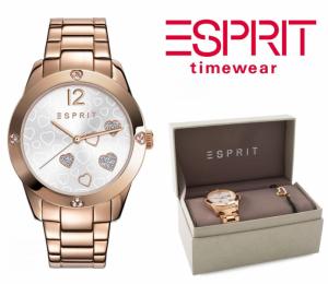 Relógio Esprit® Conjunto Hearts Rose Gold | Pulseira Com Banho de Ouro Rosa