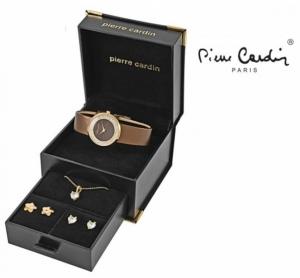 Conjunto Pierre Cardin® Brown Stars | Relógio | Colar | 4 Brincos
