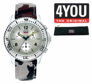 Relógio 4YOU® Cronógrafo | Bracelete Camuflada | Mostrador Cinza | 5ATM