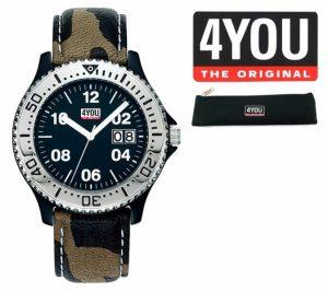 Relógio 4YOU® Analógico | Bracelete Camuflada | Mostrador Preto | 5ATM