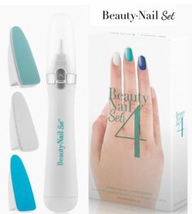 Polidor de Unhas Beauty Nail Set 4 | 3 Cabeças Intercambiáveis | Limar | Polir e Dar Brilho !