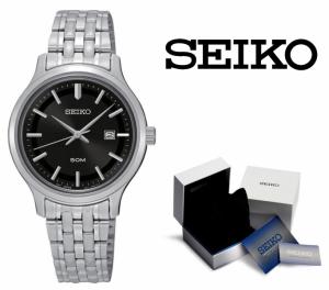 Relógio Seiko Quartz® Prata e Preto com Data !