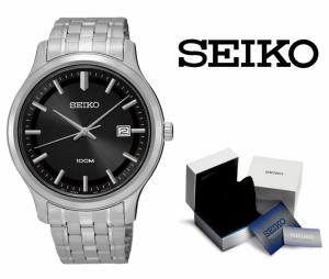 Relógio Seiko Quartz® Mens Prata e Preto com Data !