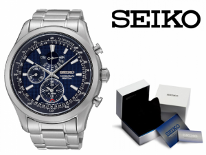 Relógio Seiko Quartz® Prata e Azul Com Cronógrafo e Calendário PERPÉTUO !