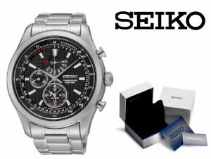 Relógio Seiko Quartz® Prata e Preto Com Cronógrafo e Calendário PERPÉTUO !