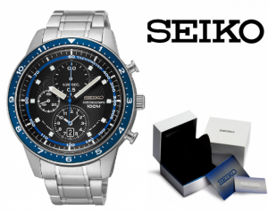 Relógio Seiko Quartz® Prata , Azul e Preto | Cronógrafo | Data | Velocímetro !