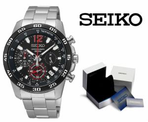Relógio Seiko Quartz® Preta e Preto | Cronógrafo | Data | Velocímetro !