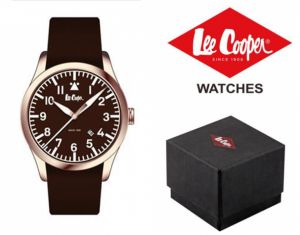 Relógio Lee Cooper® Bracelete em Pele Genuína LC-48G-C | 10ATM
