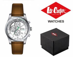 Relógio Lee Cooper® Bracelete em Pele Genuína LC-58G-B | 5ATM