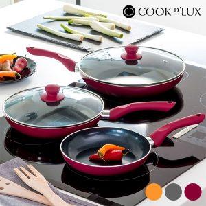 Frigideiras Cook D'Lux 3 Cores | Revestimento Cerâmico Antiaderente 5 Peças !