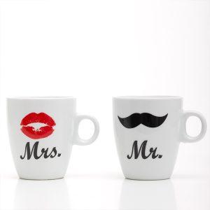 Canecas Porcelana Individuais Mr & Mrs !