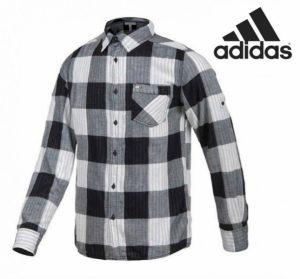 Adidas® Camisa Neo | Xadrez Preto | Branco
