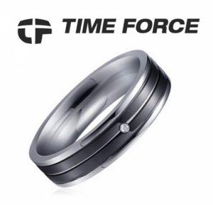 Time Force® Anel Feminino Prateado Zircónio e Aço 17,1 mm TS5018S14