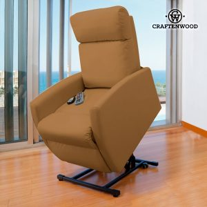 Poltrona Relax Massajadora Elevatória Craftenwood Compact Camel 6006