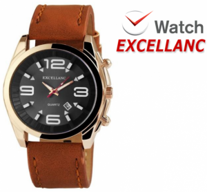Relógio Excellanc Mostrador Preto I Dourado I Data   Movimento Quartzo de Alta Qualidade