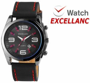 Relógio Excellanc Mostrador Preto I Bracelete Preto e Vermelho I Data | Movimento Quartzo de Alta Qualidade