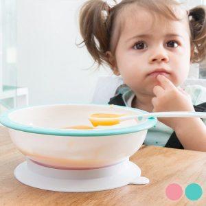 Taça Com Ventosa Antirrotação E Colher Para Bebés | Disponível Em 2 Cores!