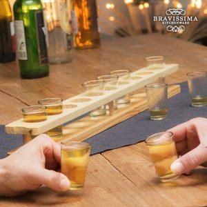 Copos de Shot com Suporte de Madeira Bravissima Kitchen | 11 Peças