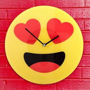 Relógio De Parede Emoticon Corações