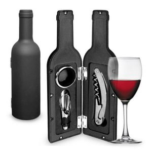Caixa De Acessórios De Vinho Em Forma De Garrafa | 3 Peças