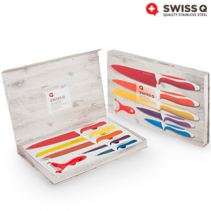 Swiss Q® Conjunto com Lâminas Super Afiadas | Aço Inoxidável | Revestidas a Cerâmica