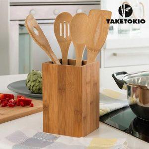 Utensílios De Cozinha Em Bambu | 5 Peças
