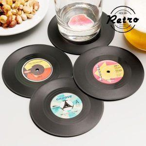 Pack de 4 Bases Para Copos Retro Discos de Vinil