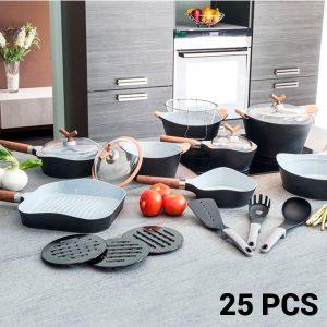 Conjunto de 25 Peças Frigideiras e Trem De Cozinha Black Premium !