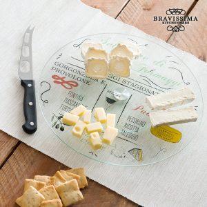 Bandeja De Vidro Giratória Com Faca Para Queijos | Bravissima Kitchen !