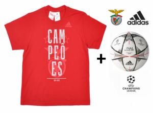 Adidas Bola Oficial + T-Shirt Benfica Campeão Nacional Júnior