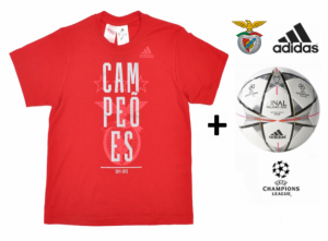 Adidas Bola Oficial Mini + T-Shirt Benfica Campeão Nacional Adulto