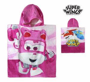 Poncho-Toalha com Capuz Rosa Super Wings | Produto Licenciado
