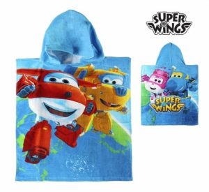 Poncho-Blue Hooded Towel Super Wings