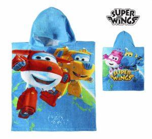 Poncho-Toalha com Capuz Azul Super Wings | Produto Licenciado