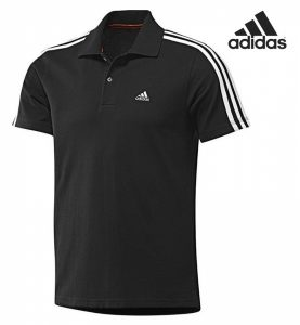 Adidas® Polo Essentials 3 Stripes Preto | Tecnologia Climalite®