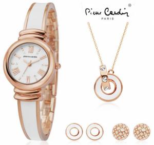Conjunto Pierre Cardin® White Rose | Relógio | Colar | 4 Brincos