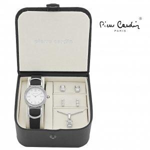 Conjunto Pierre Cardin® Women´s Silver Stones | Relógio | Colar | 4 Brincos