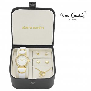 Conjunto Pierre Cardin® Gold White Crystal   Relógio   Colar   4 Brincos