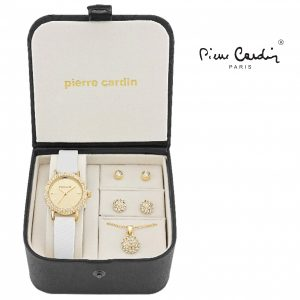 Conjunto Pierre Cardin® Women´s White Gold Crystal | Relógio | Colar | 4 Brincos