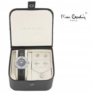 Conjunto Pierre Cardin® Black Silver Petals | Relógio | Colar | 4 Brincos
