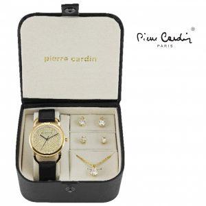 Conjunto Pierre Cardin® White Black Gold Timeless Elegance | Relógio | Colar | 4 Brincos
