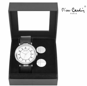 Conjunto Pierre Cardin® Man Black   White   Relógio   2 Botões de Punho
