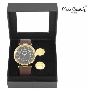 Conjunto Pierre Cardin® Man Black | Gold | Brown | Relógio | 2 Botões de Punho